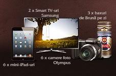 "Concurs ""Provocarea Brunei"": castiga 2 televizoare Smart 3D LED Samsung, 6 iPad Mini 32 GB, 6 aparate foto Olympus SP-620UZ si 138 baxuri de bere Timisoreana Bruna"