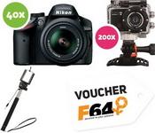 Castiga 40 aparate foto Nikon D3200, 200 camere video sport Smailo, un voucher F64 de 1.000 de lei si 798 selfie stick-uri