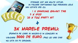 Castiga 3 x 3.000 de euro, 4 tablete Samsung Galaxy Tab, 20 de iPod-uri si 80 de pachete Tuc Party Kit
