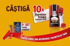 Castiga 10 espressoare Tchibo Cafissimo Latte si 76 seturi Twix&Tchibo