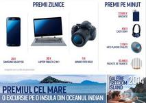 Castiga o excursie pe o insula din oceanul Indian, 25 smartphone-uri Samsung Galaxy S6, 20 laptopuri Toshiba Satellite Click 2 Pro, 11 aparate foto DSLR Nikon D5200 si alte 80.640 premii instant